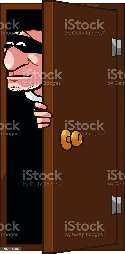 Thief is coming at the door royalty-free stock vector art