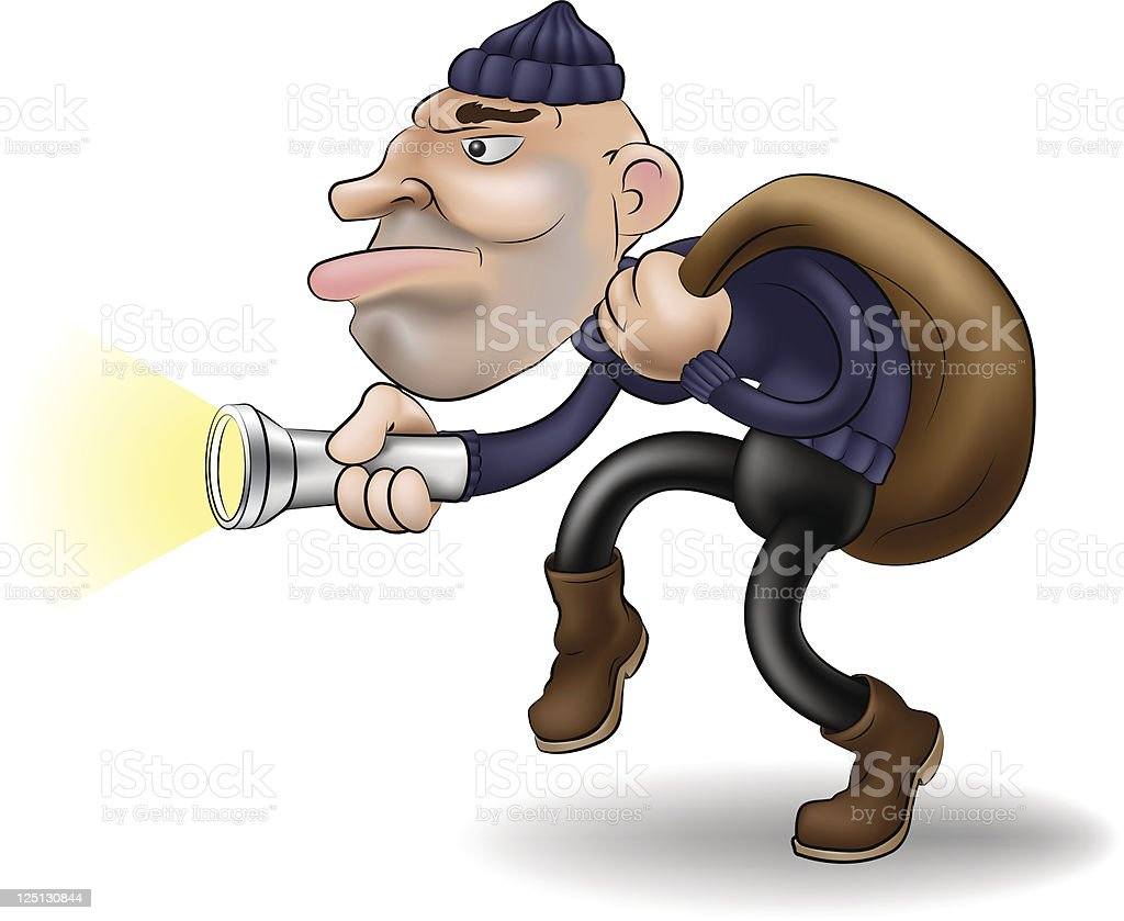 Thief or burglar with torch and sack royalty-free stock vector art