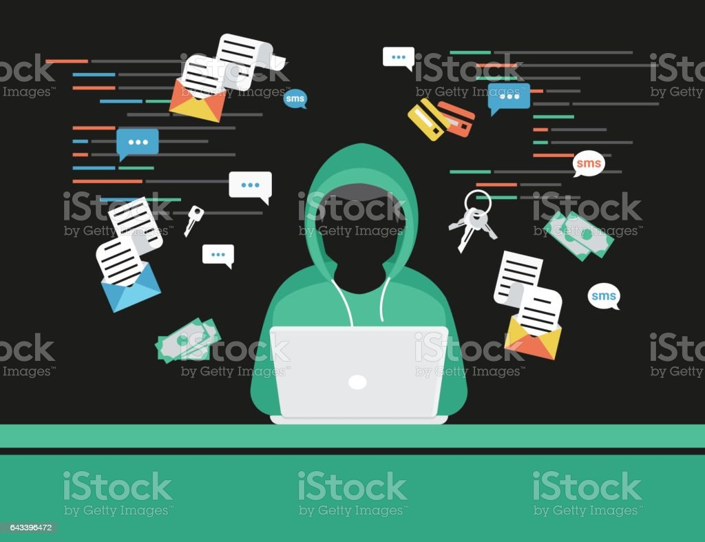 Thief or hacker is stealing log in password of social networks account vector art illustration