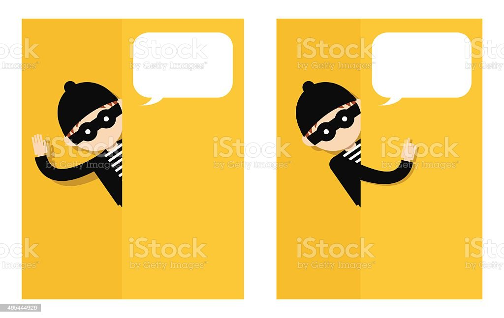 Thief standing behind the wall vector art illustration