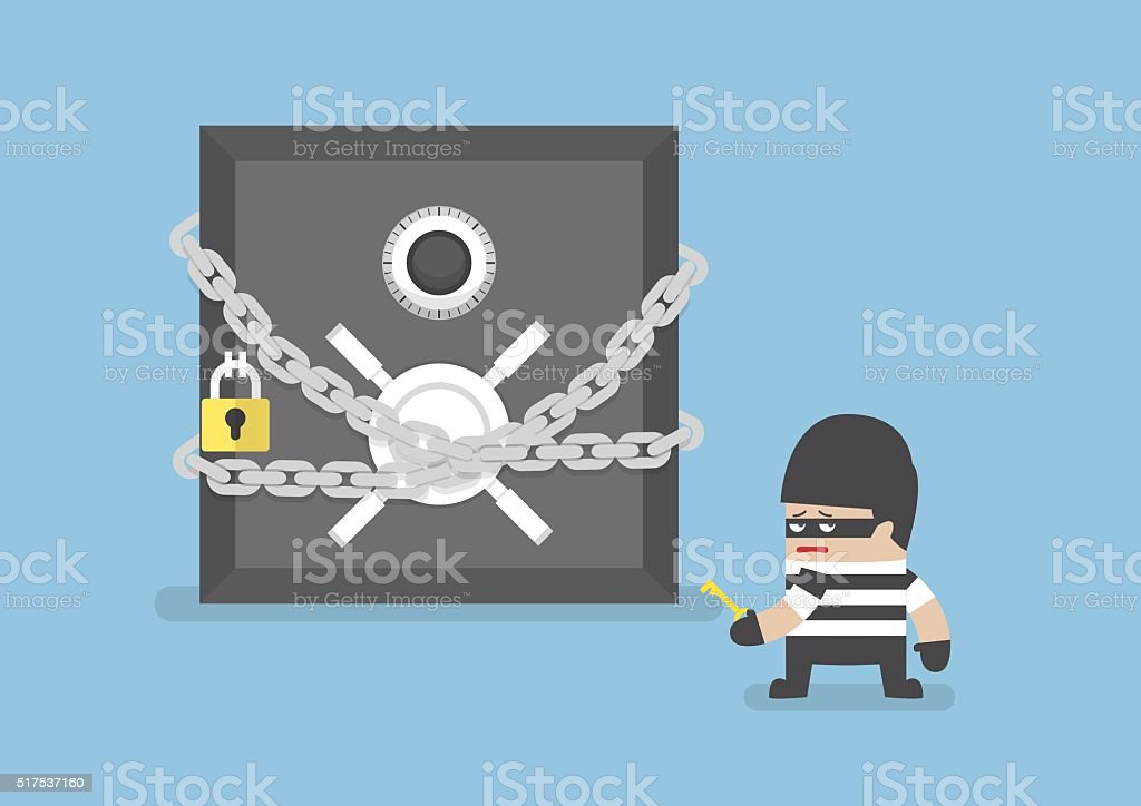 Thief standing in front of safe box vector art illustration