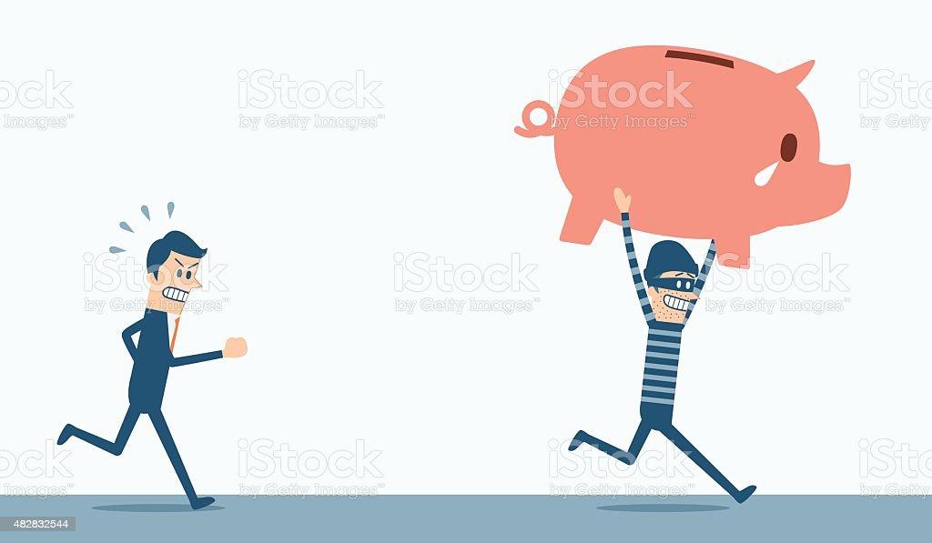 Thief steal piggy bank vector art illustration