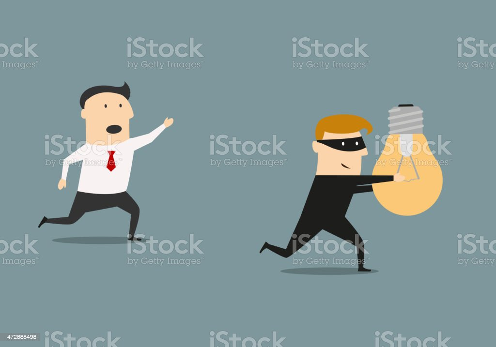Thief stealing idea from businessman vector art illustration