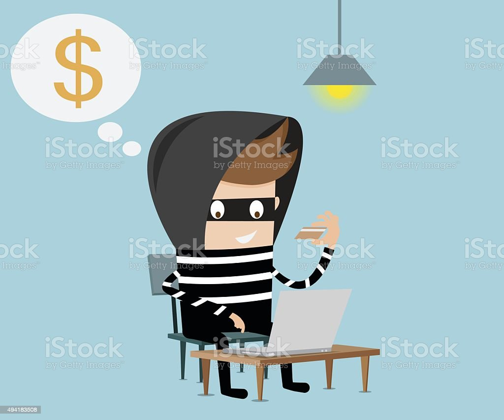 thief using fake credit card on internet vector art illustration