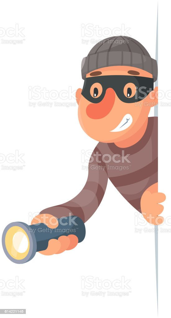 Thief with flashlight peeping out of the corner cartoon design vector art illustration