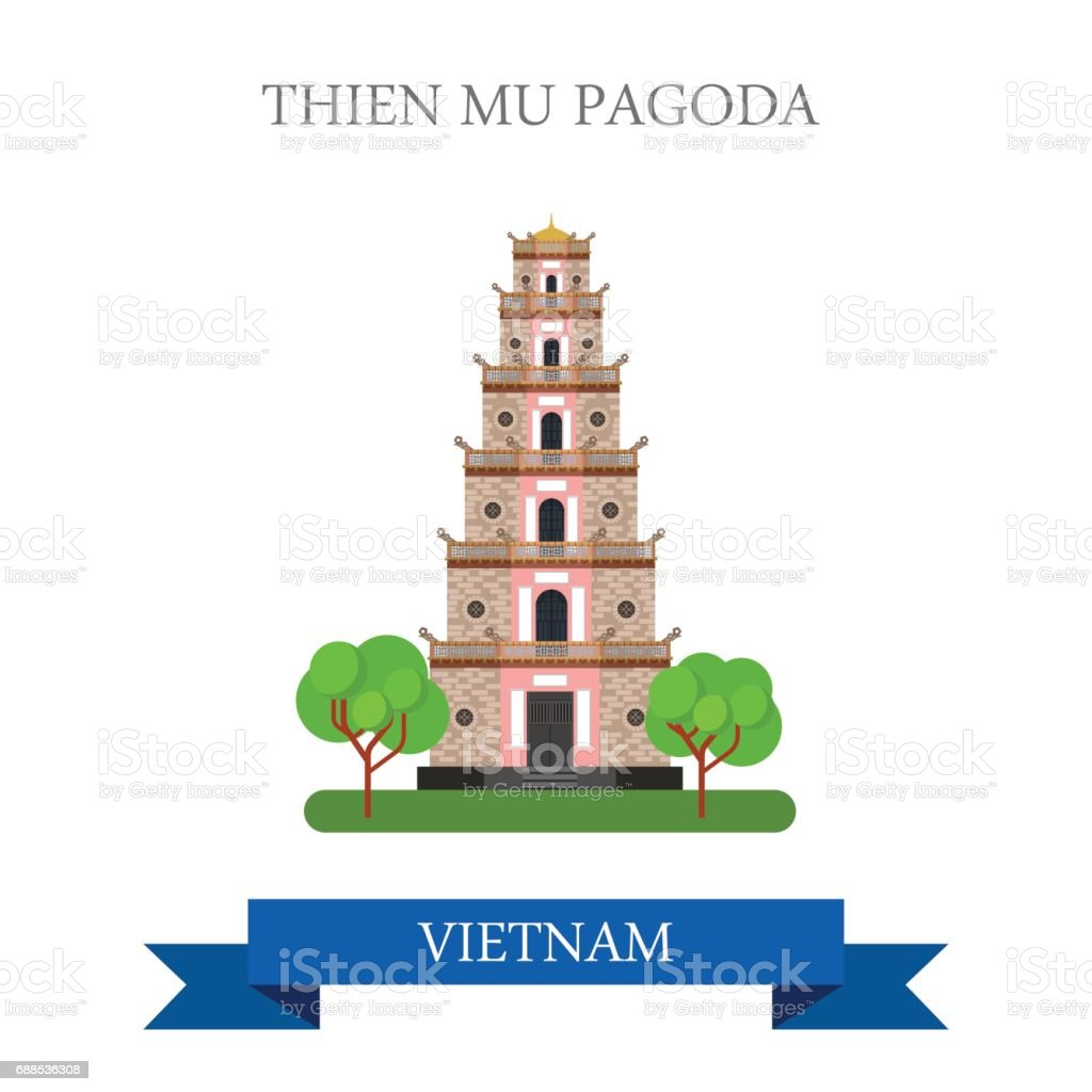 Thien Mu Pagoda in Vietnam. Flat cartoon style historic sight showplace attraction web site vector illustration. World countries cities vacation travel sightseeing Asia collection. vector art illustration