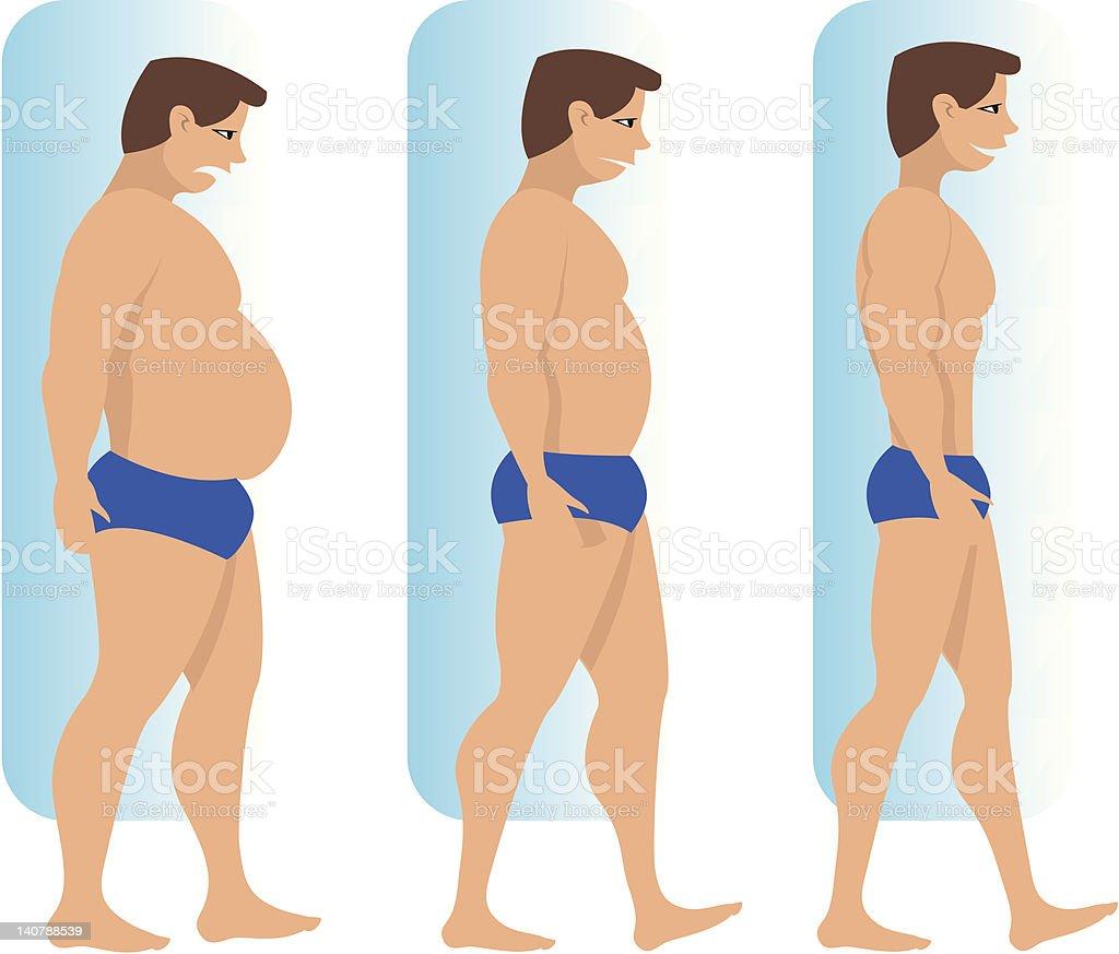 Thin and fat man vector art illustration
