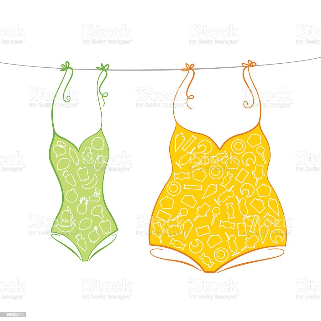 Thin and thick swimsuits vector art illustration