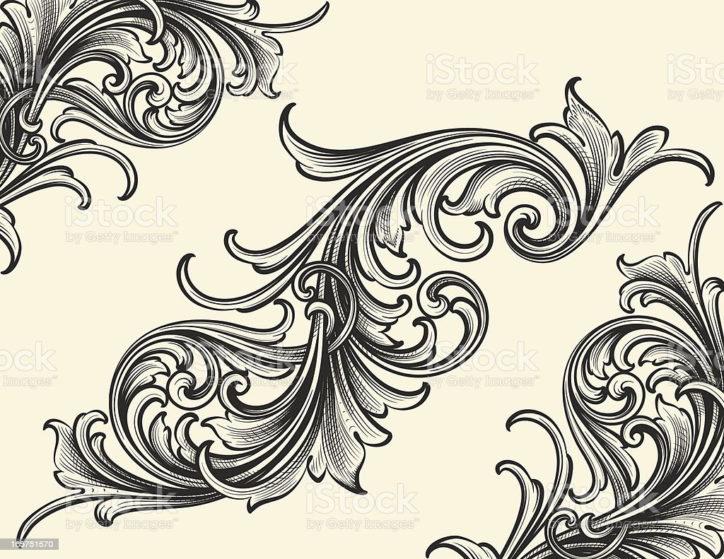 Thin Bodied Scrollwork With Engraved Corners stock vector ...