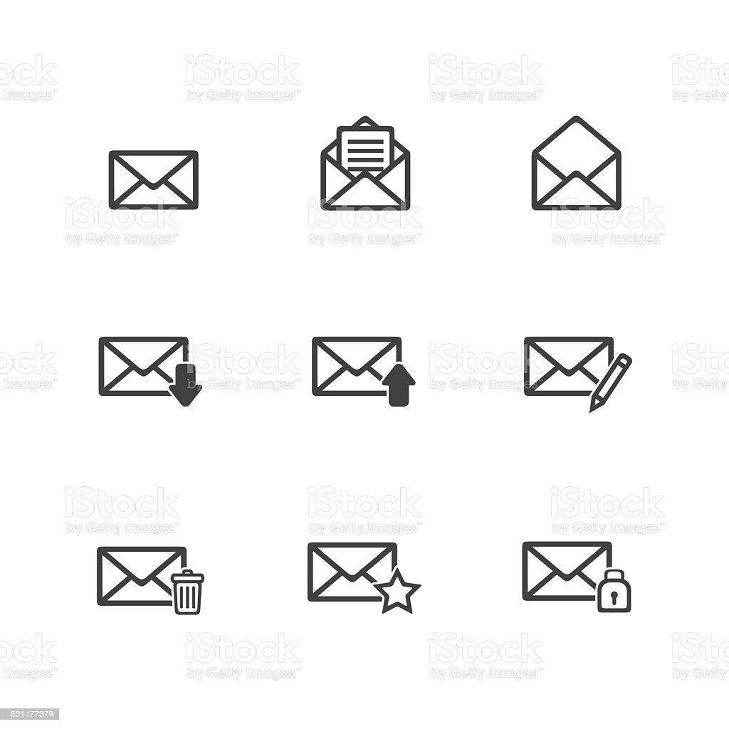 Thin Email Icons Set vector art illustration