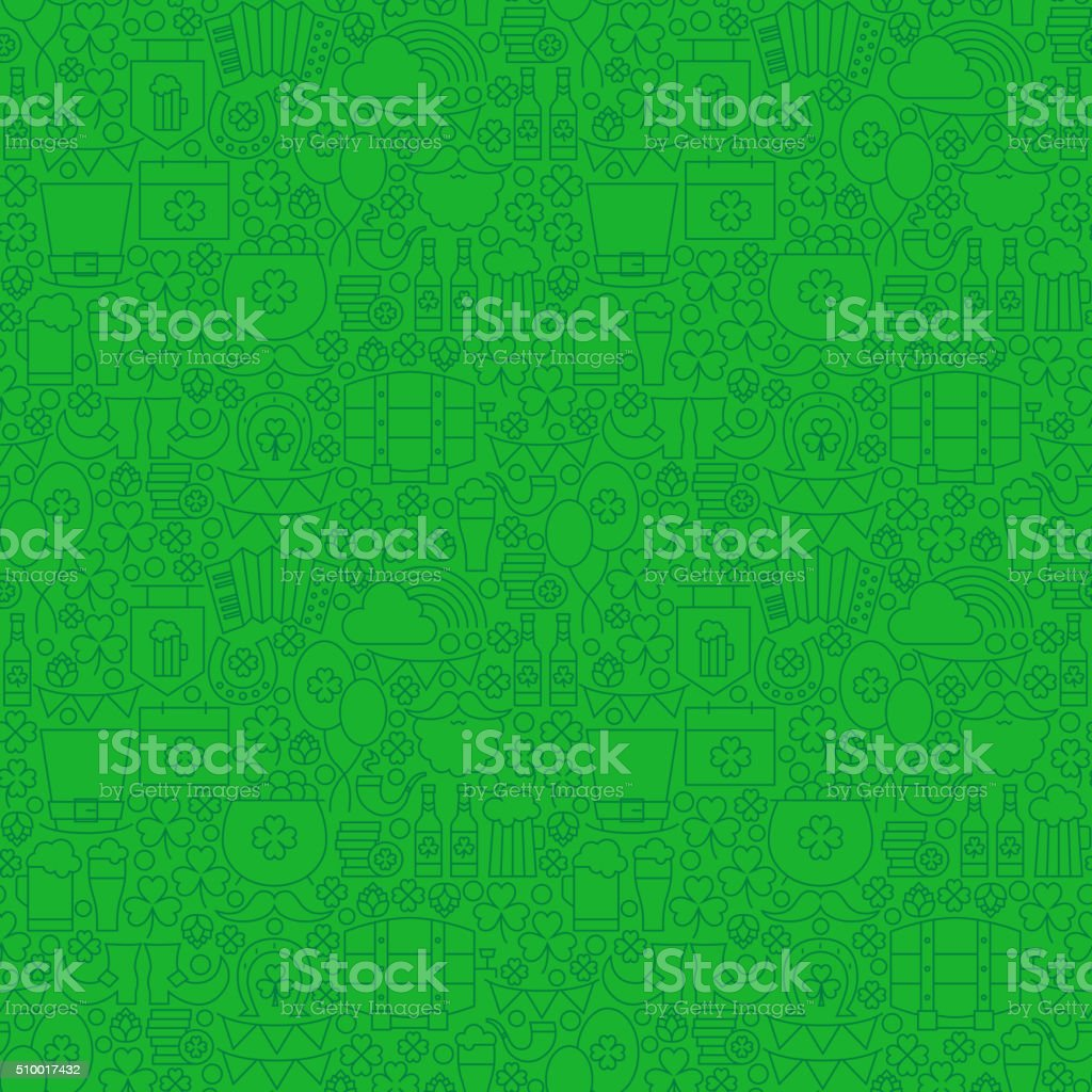 Thin Holiday Line Saint Patrick Day Green Seamless Pattern vector art illustration