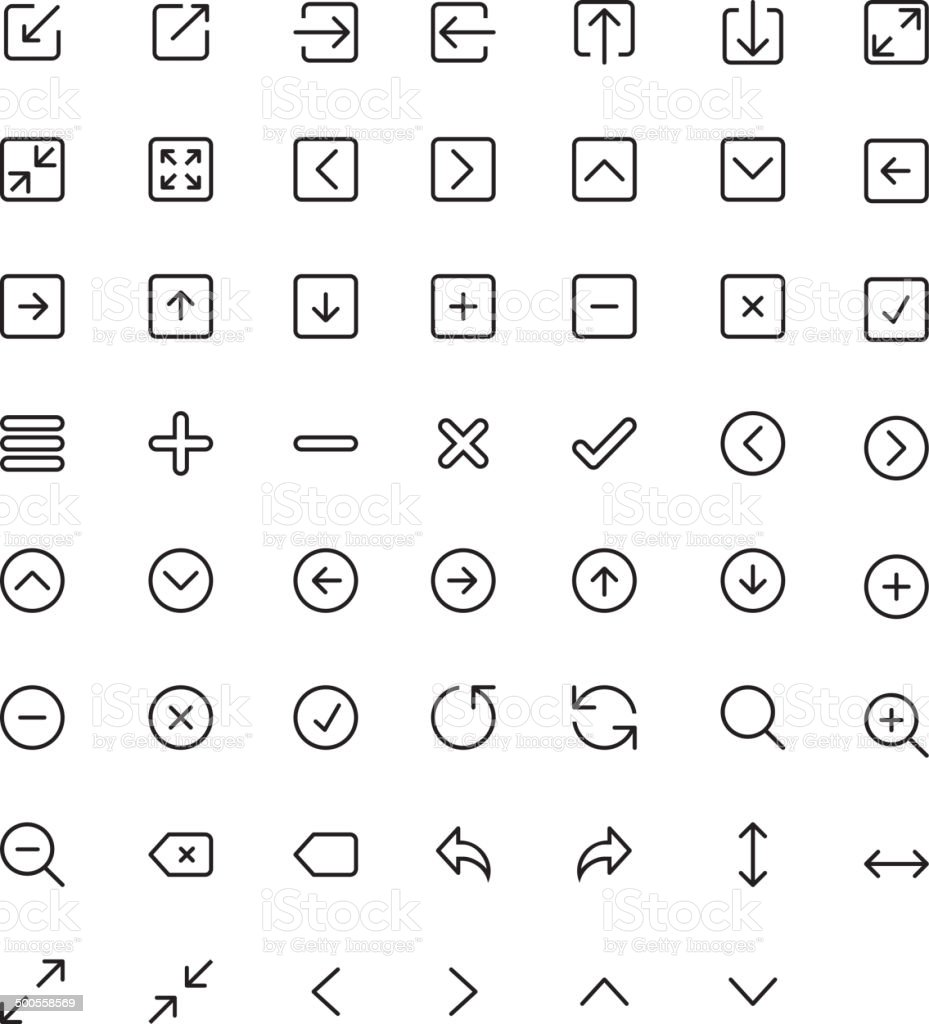 Thin Icon set vector art illustration