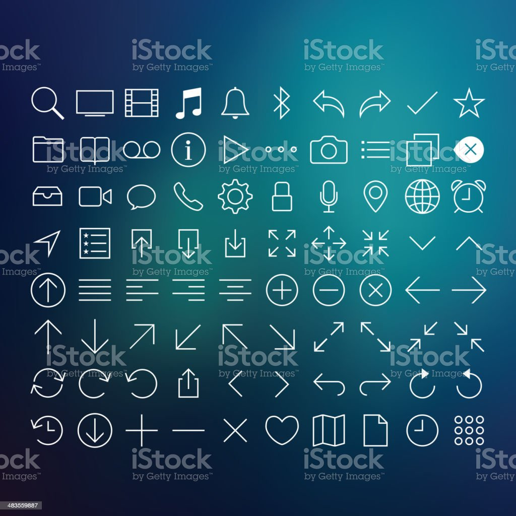 80 Thin Icons Set vector art illustration