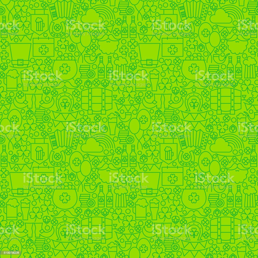 Thin Irish Line Saint Patrick Day Seamless Green Pattern vector art illustration