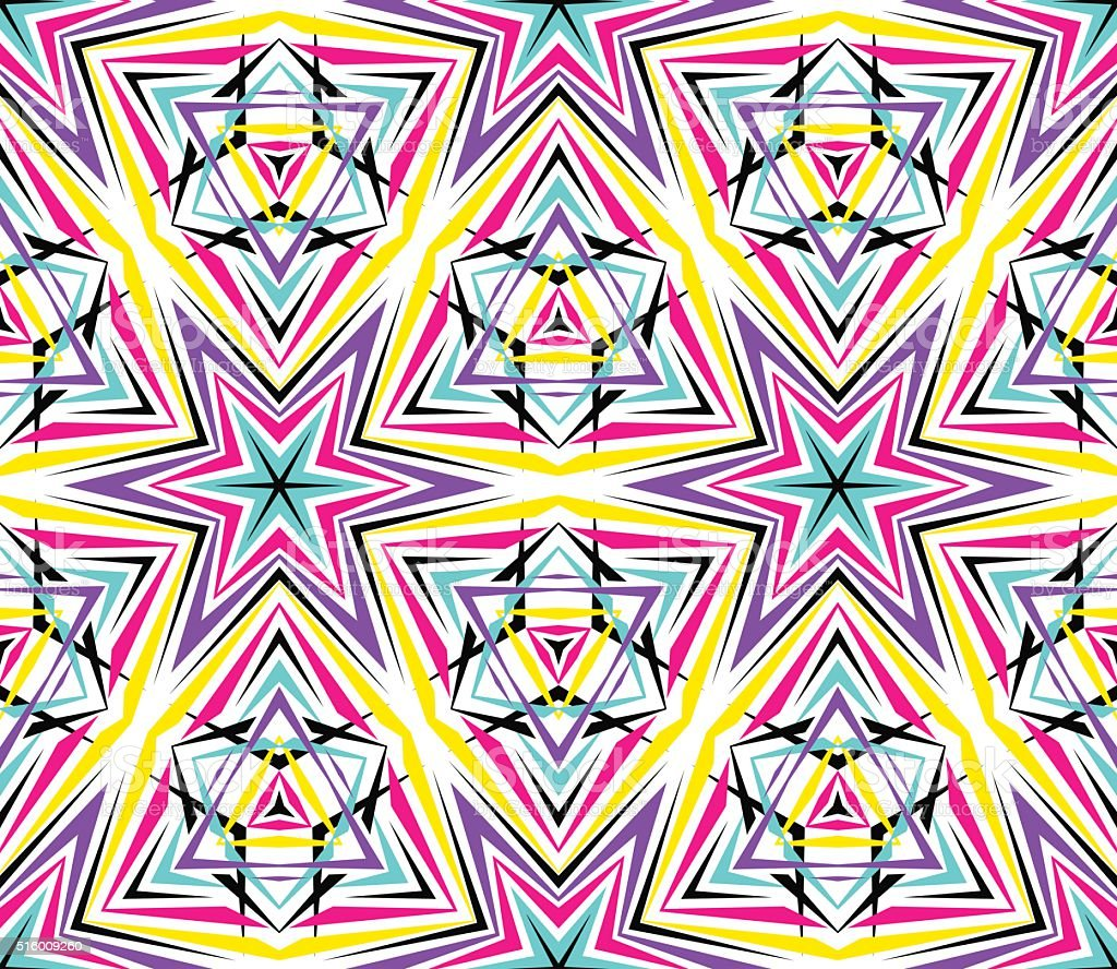 Thin Kaleidoscope Star Pattern vector art illustration