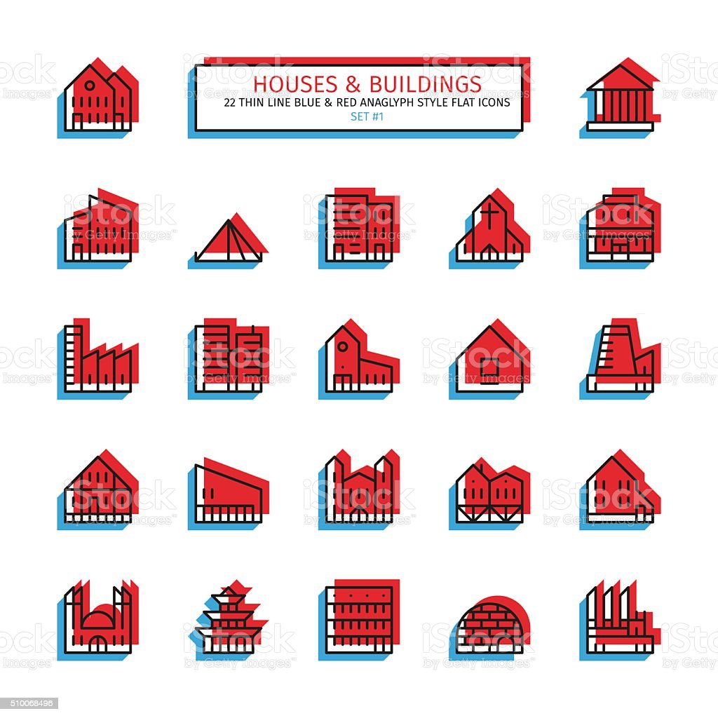 Thin line anaglyph style icons. Houses and buildings vector art illustration