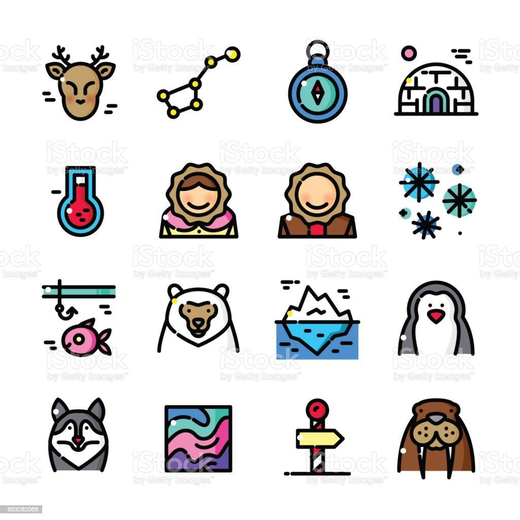 Thin line Arctic icons set, vector illustration vector art illustration