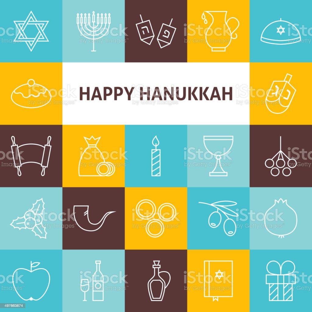 Thin Line Art Happy Hanukkah Jewish Holiday Icons Set vector art illustration
