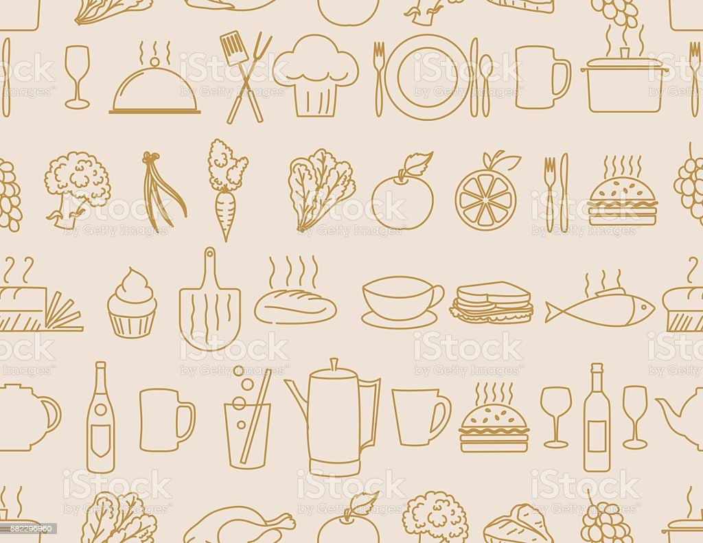 Thin Line Art Restaurant And Food Industry Icons Seamless Pattern vector art illustration