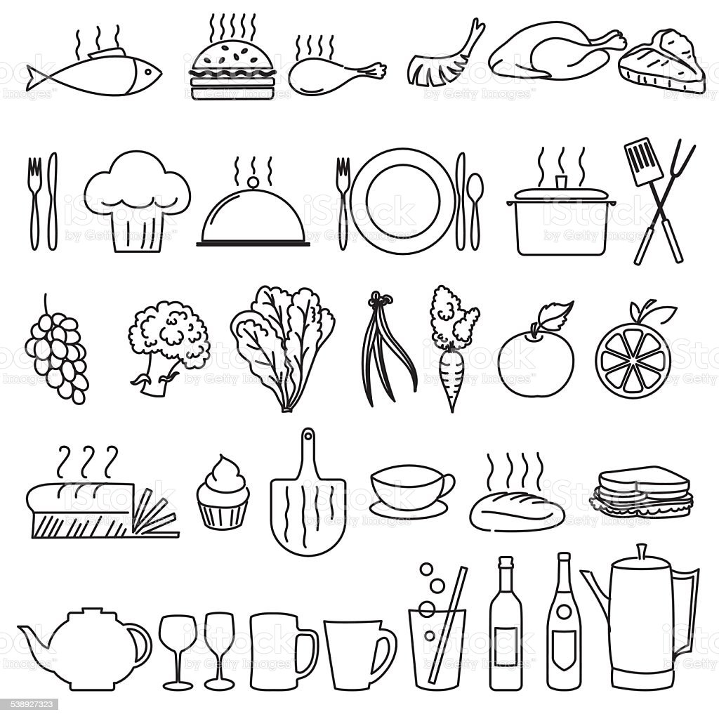 Thin Line Art Restaurant And Food Industry Icons vector art illustration