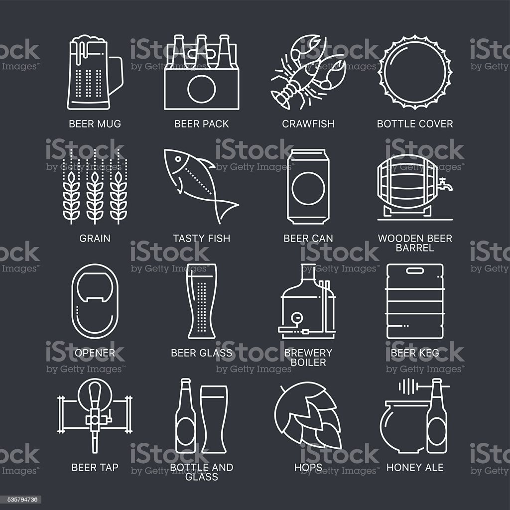 Thin line beer logo concept. Web graphics linear icons set. vector art illustration