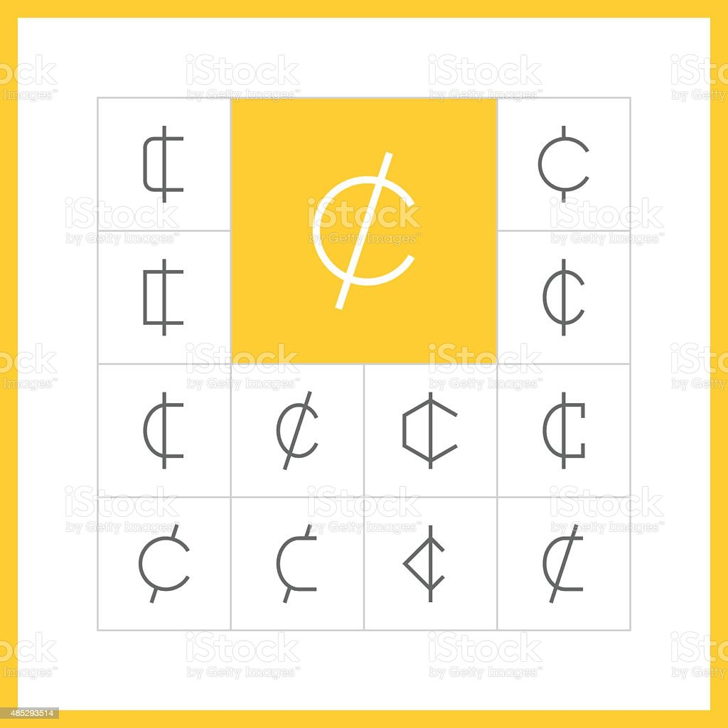 Thin line cent sign vector art illustration
