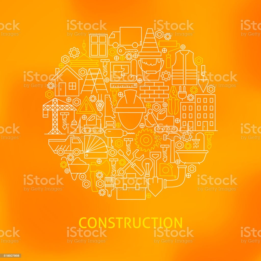 Thin Line Construction Icons Set Circle Concept vector art illustration