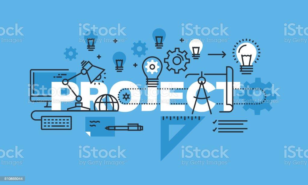 Thin line design concept for project website banner vector art illustration