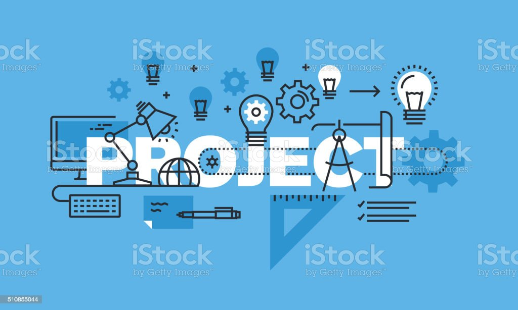Thin line design concept for project website banner vector art illustration