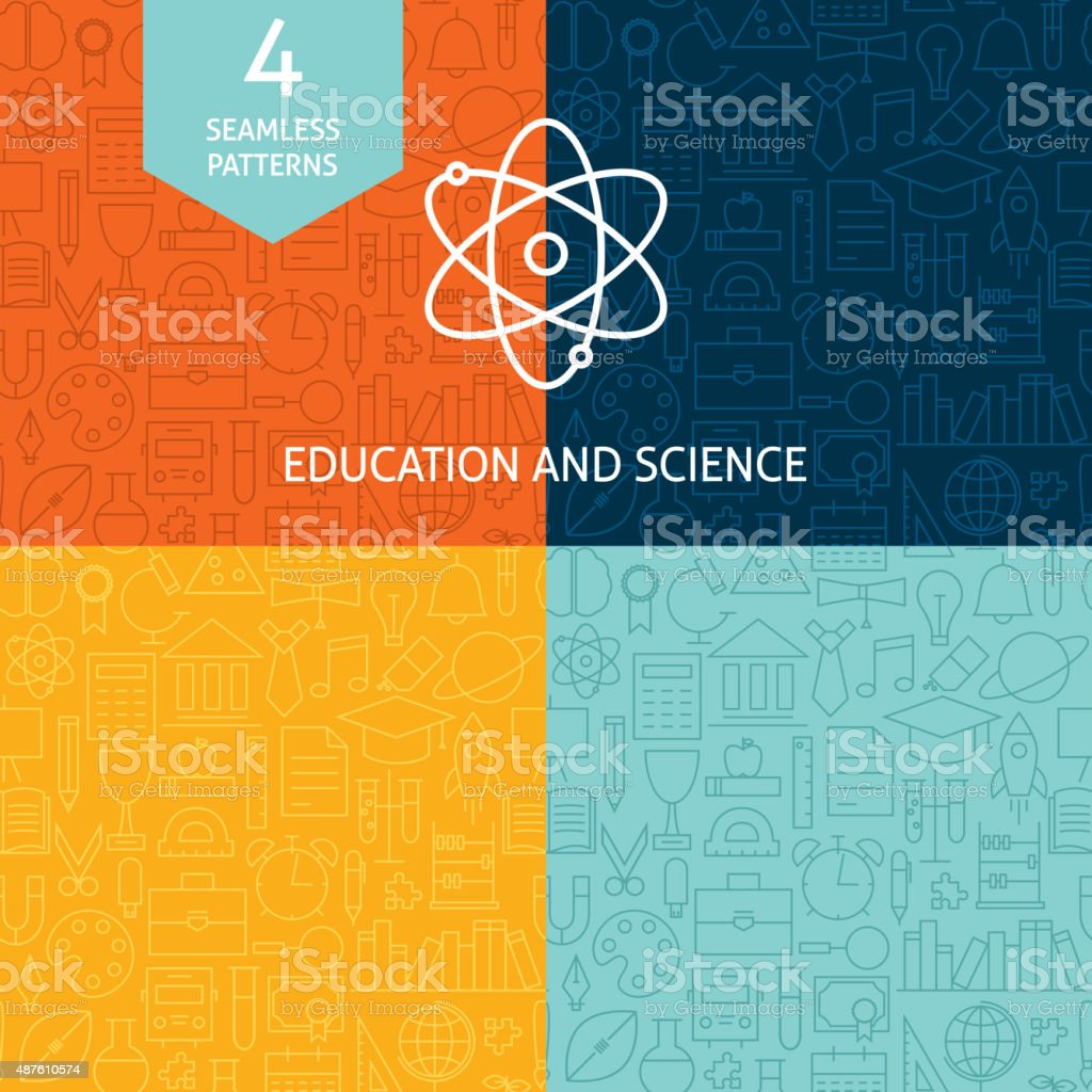Thin Line Education Science School Patterns Set vector art illustration