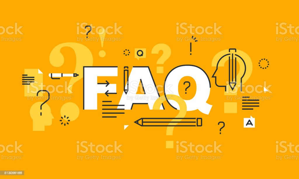 Thin line flat design banner for FAQ web page vector art illustration
