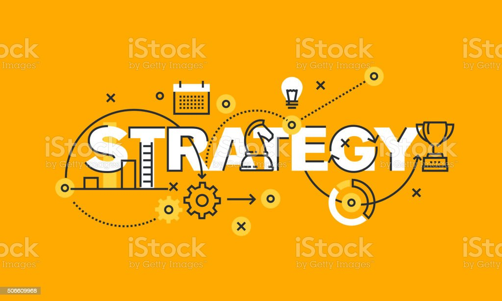 Thin line flat design banner of business and marketing strategy vector art illustration
