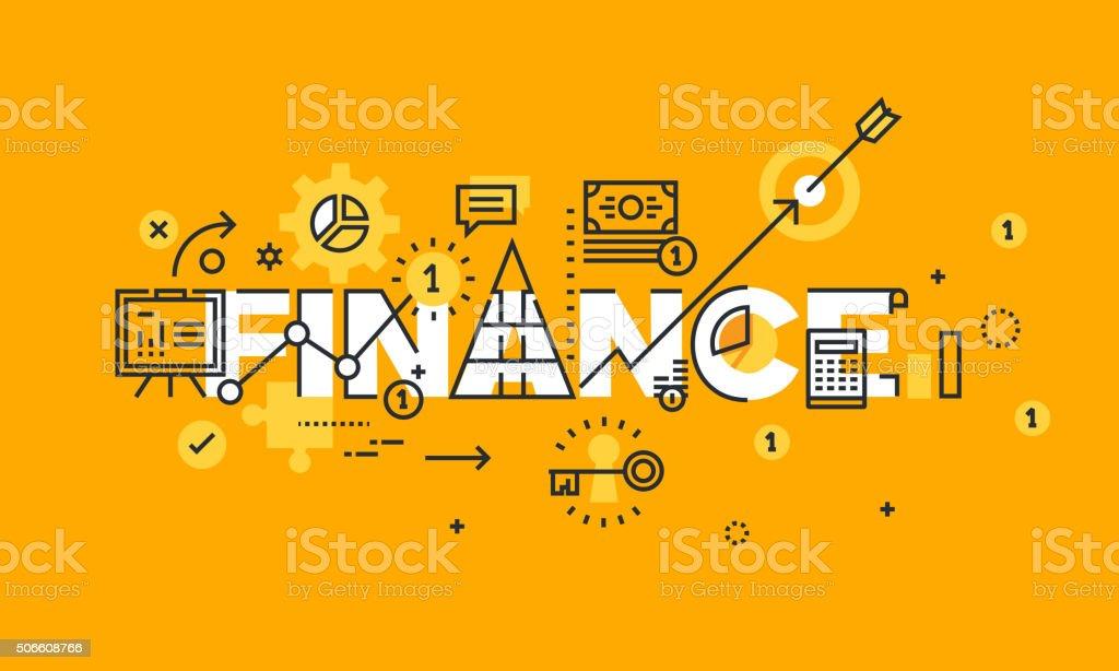 Delgado línea diseño plano bandera de negocios, finanzas y bancario illustracion libre de derechos libre de derechos
