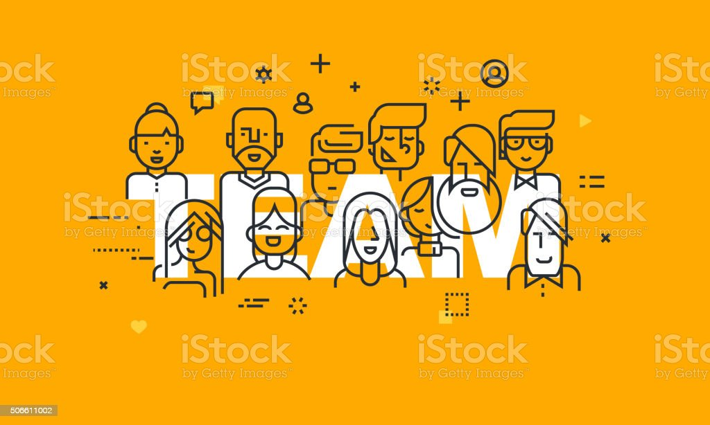 Thin line flat design banner of business people teamwork vector art illustration