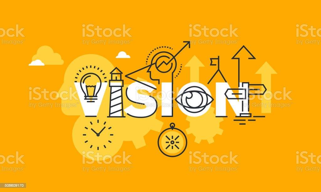Thin line flat design banner of company vision statement vector art illustration