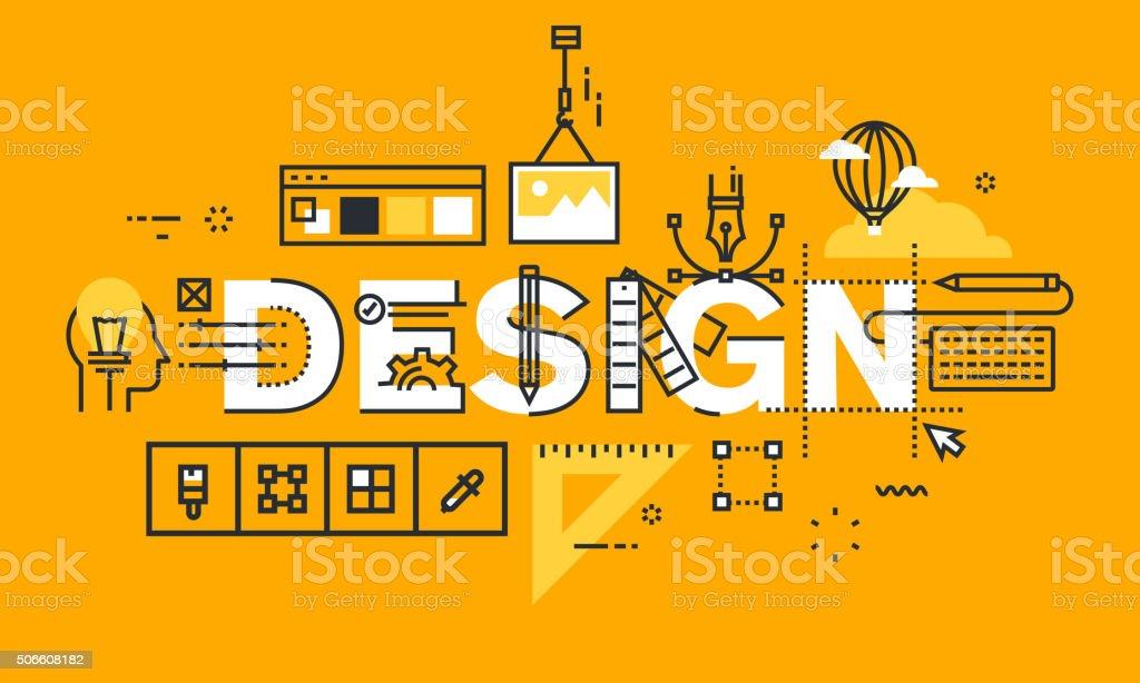 Delgado línea diseño plano bandera soluciones de diseño gráfico illustracion libre de derechos libre de derechos