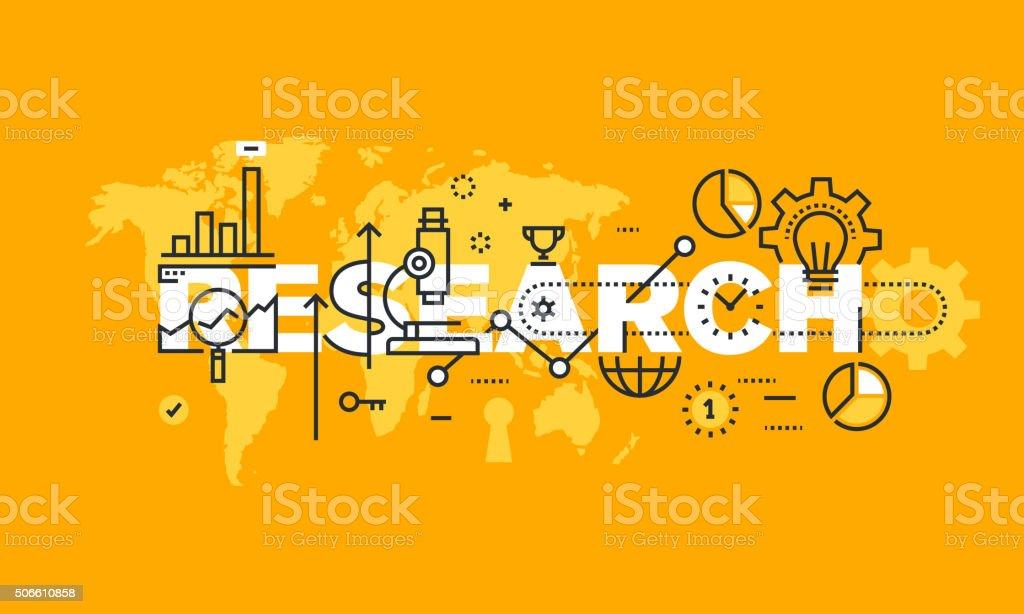 Delgado línea diseño plano bandera de investigación illustracion libre de derechos libre de derechos