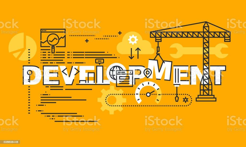 Delgado línea diseño plano bandera de desarrollo Web y aplicación illustracion libre de derechos libre de derechos