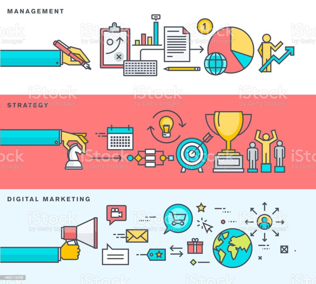 Thin line diseño plano carteles para los viajeros de negocios y de comercialización illustracion libre de derechos libre de derechos