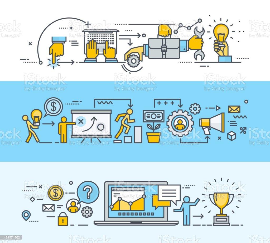 Thin line diseño plano concepto banners para los viajeros de negocios y de comercialización illustracion libre de derechos libre de derechos