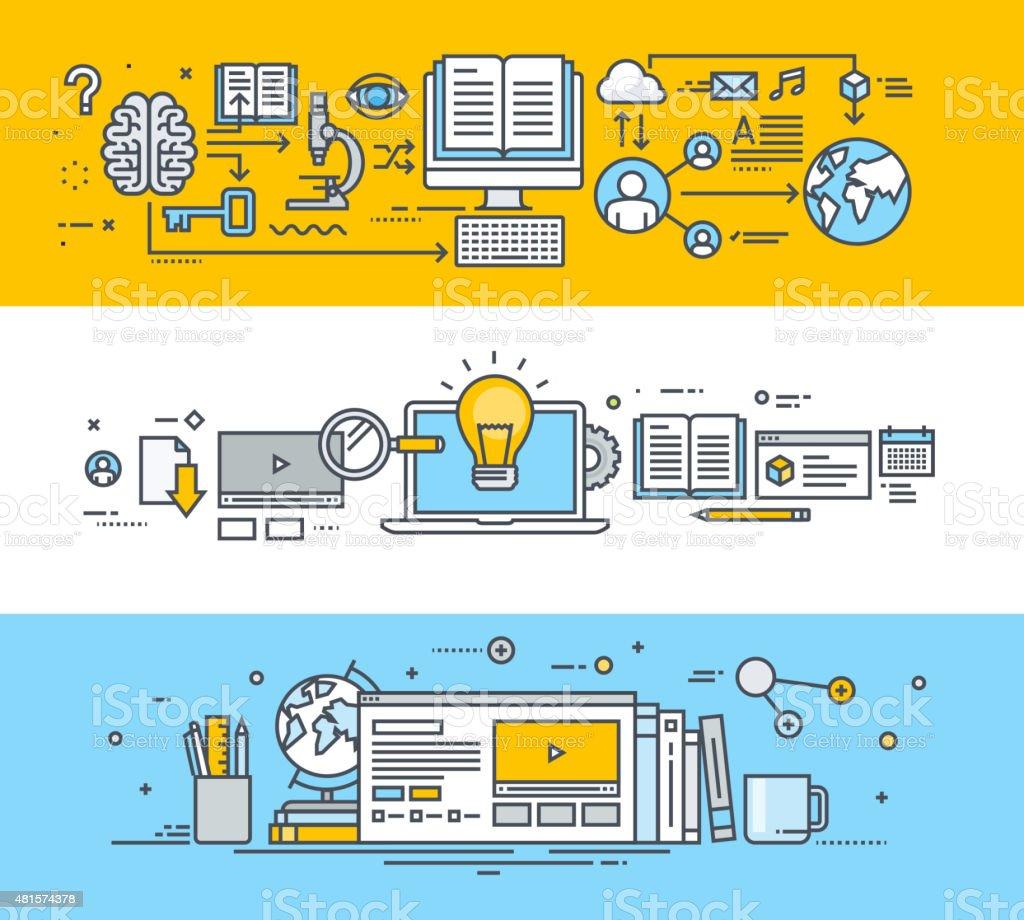 Thin line flat design concept banners for online education vector art illustration