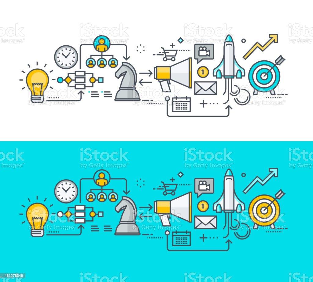 Thin line diseño plano concepto de plan de negocio. illustracion libre de derechos libre de derechos