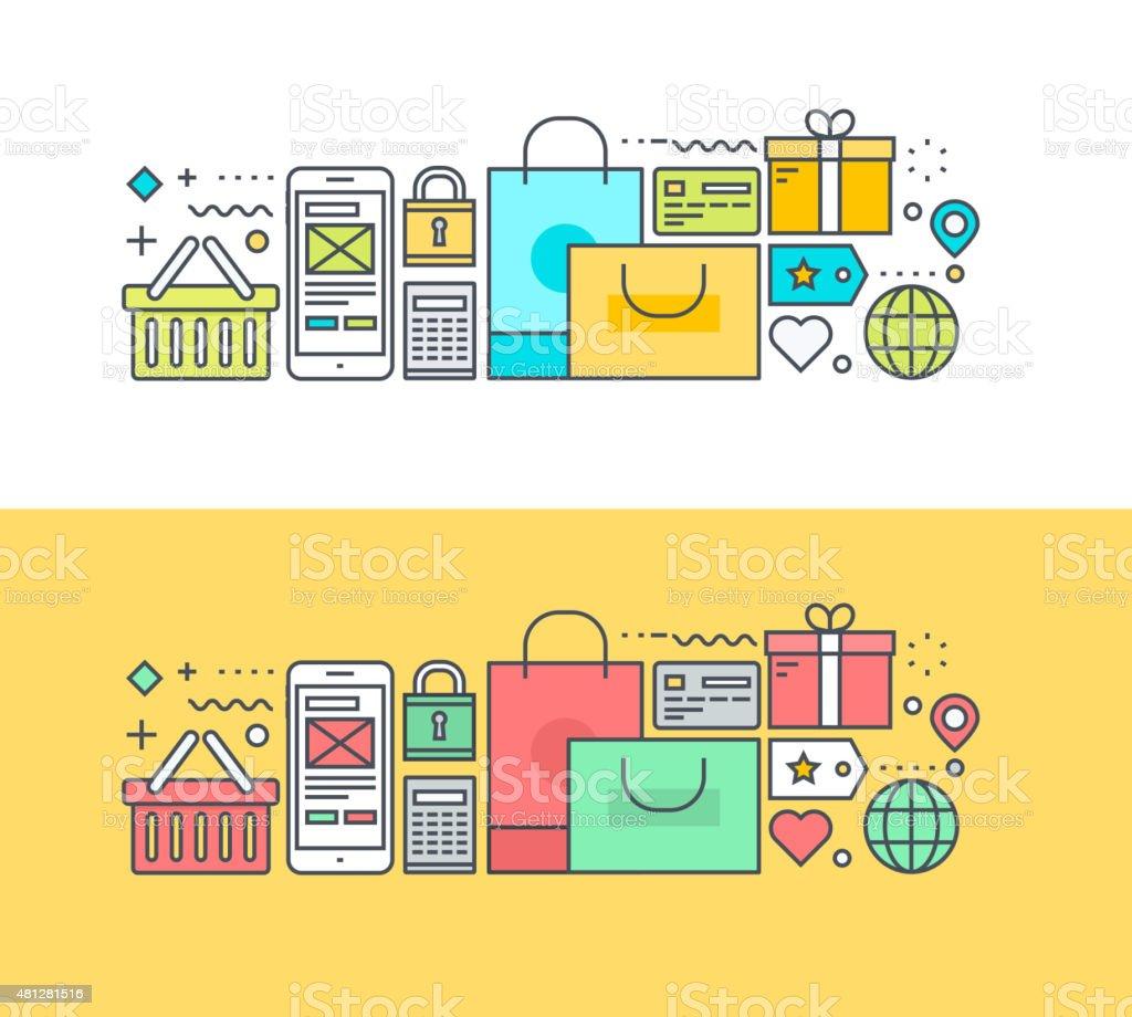 Línea fina de diseño plano concepto de compras y del illustracion libre de derechos libre de derechos