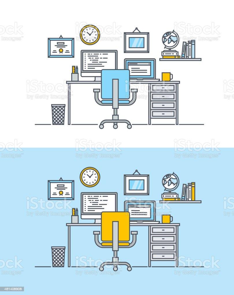 Línea fina de diseño plano concepto de diseño web de trabajo illustracion libre de derechos libre de derechos
