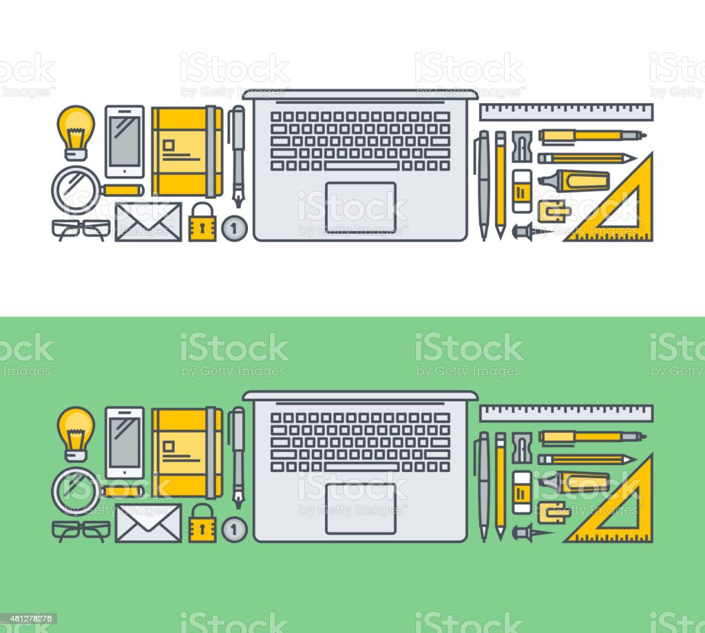 Thin line diseño plano concepto de elementos de negocios illustracion libre de derechos libre de derechos