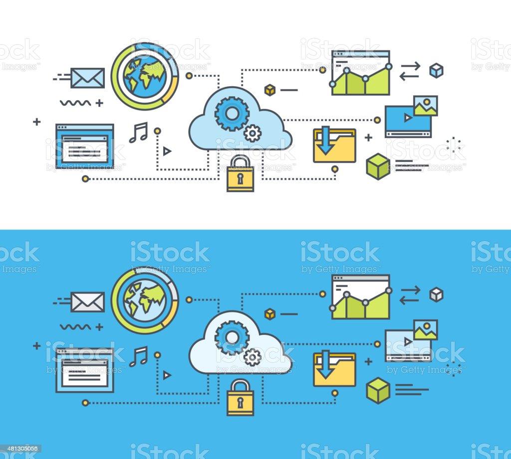 Thin line diseño plano concepto de computación en nube illustracion libre de derechos libre de derechos