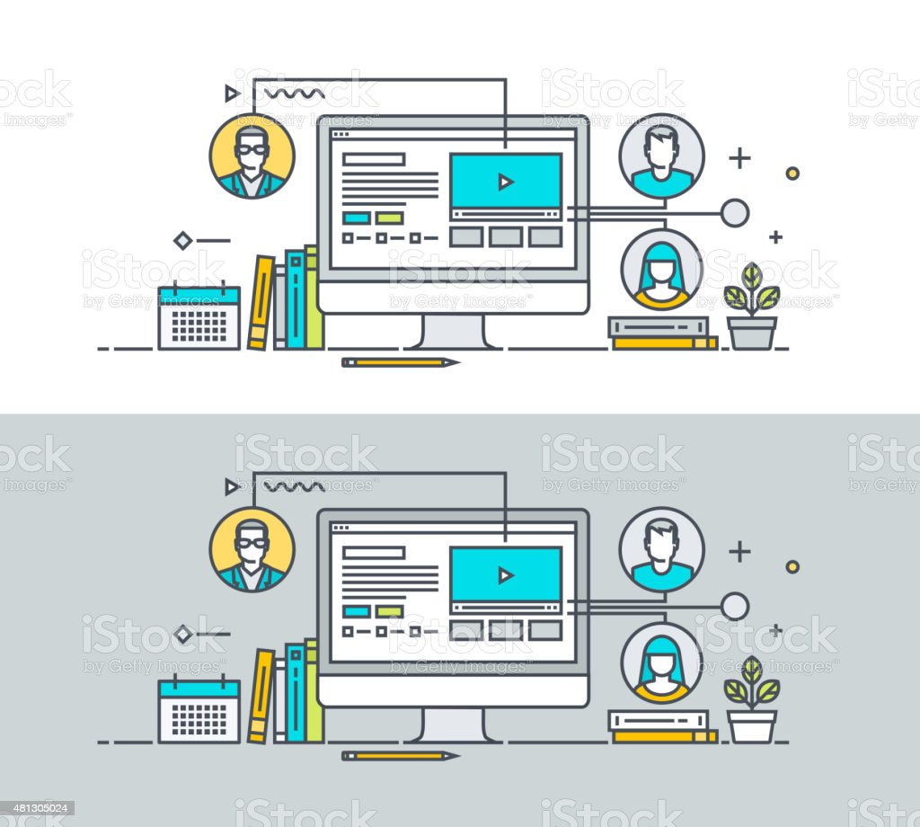Fina de concepto de diseño plano de educación en línea illustracion libre de derechos libre de derechos