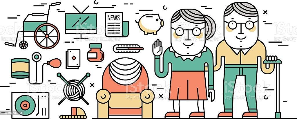 Thin line flat design concept of senior's lifestyle and healthca vector art illustration