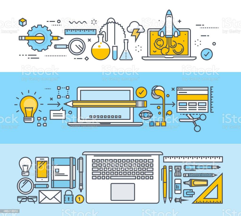 Línea fina de conceptos de diseño plano para web y diseño gráfico illustracion libre de derechos libre de derechos