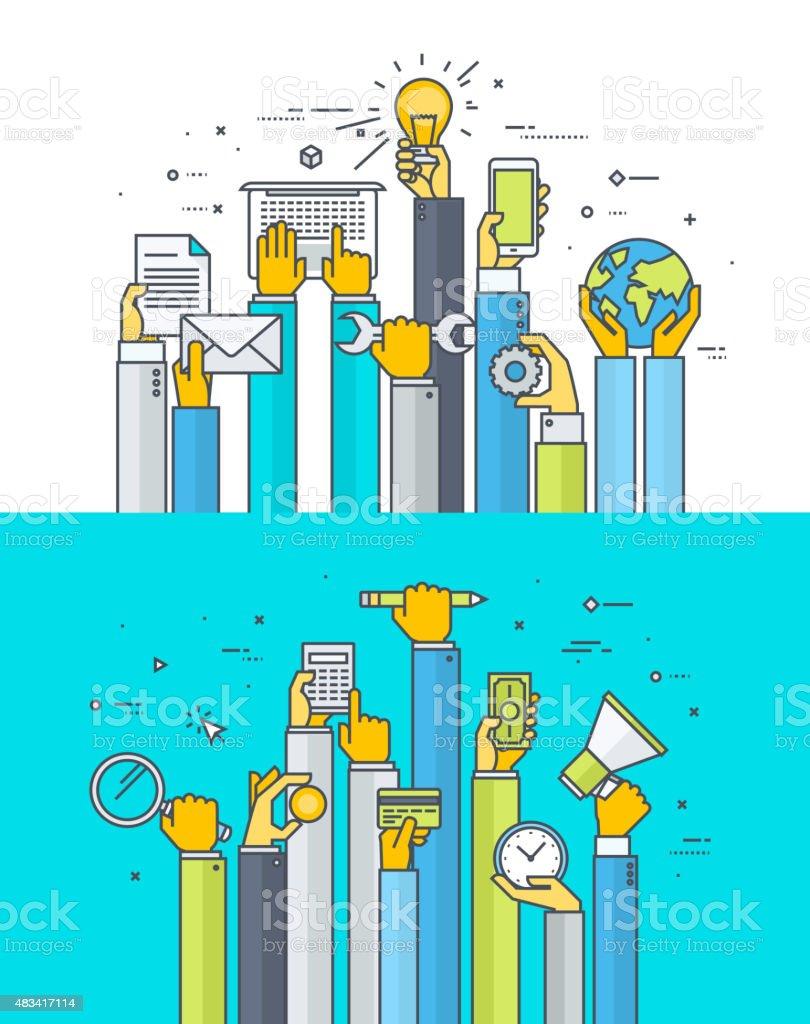 Línea fina de conceptos de diseño plano para aplicaciones y servicios de internet illustracion libre de derechos libre de derechos